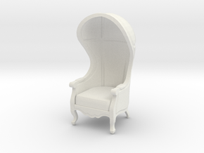 1:48 Quarter Scale Untextured Carrosse Chair in White Strong & Flexible