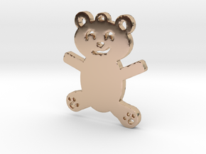 Cute Teddy Bear Necklace Pendant in 14k Rose Gold Plated