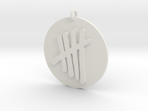 Tally Mark Emblem 1 Inch Pendant in White Strong & Flexible