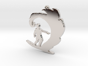 Surfer on a Wave Necklace Pendant in Rhodium Plated