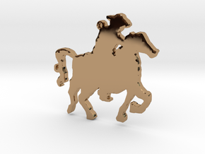 Cowboy on a Horse Necklace Pendant in Polished Brass