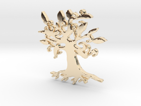 Swirly Tree Necklace Pendant in 14k Gold Plated