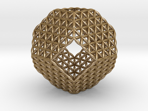 Flower Of Life Truncated Octahedron in Polished Gold Steel