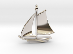 Large Sailboat Pendant in Rhodium Plated