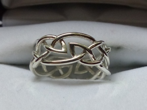 Double Leaf Celtic Knot Ring Size 6.5 in Polished Silver