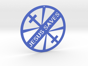 JESUS SAVES in Blue Strong & Flexible Polished