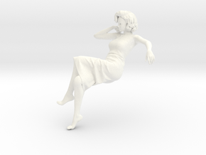 Lady sitting-010 scale 1/24 Passed in White Strong & Flexible Polished