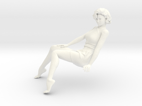 Lady sitting-013 scale 1/24 Passed in White Strong & Flexible Polished