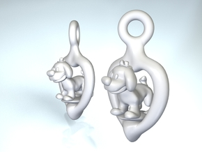 Puppy earrings in Polished Nickel Steel