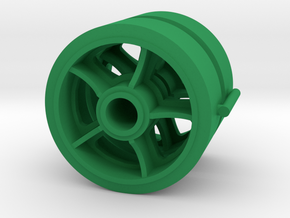 Two 1/16 scale 5 spoked M4 Sherman wheels  in Green Strong & Flexible Polished