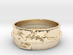 Eshgh Love Ring, Persian Art, Ring Size 8 in 14k Gold Plated