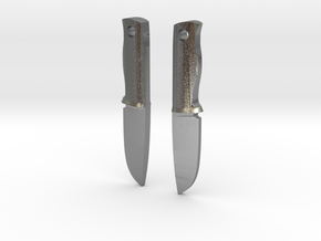 Bushcraft knives earrings in Raw Silver