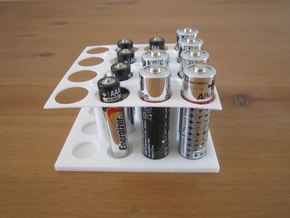 AA AAA Battery Holder X16 in White Strong & Flexible