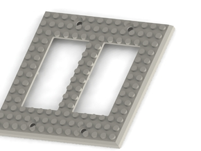 Lego Base Switch Cover Plate (Double rocker) BETA  in White Strong & Flexible