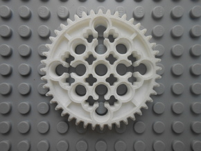 LEGO®-compatible 44-tooth bevel gear w/ pinhole R2 in White Strong & Flexible