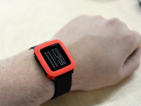 Pebble Time / Time 2 cover / bumper in Red Strong & Flexible Polished