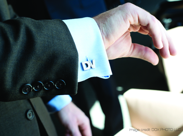 Monogram Cufflinks DV 3d printed