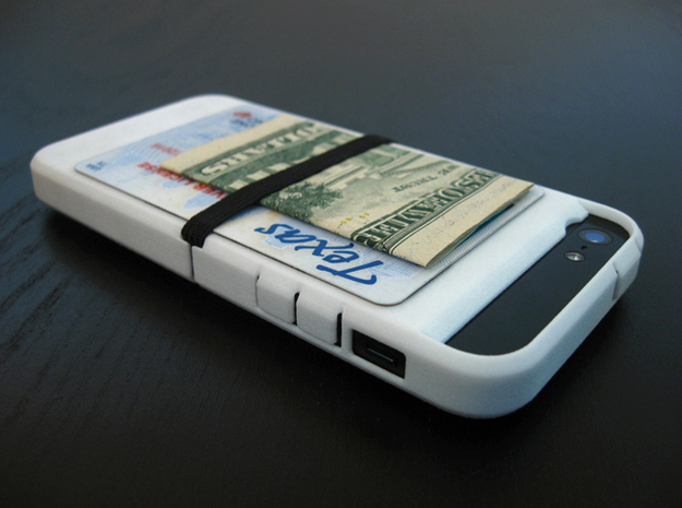 "Cariband case for iPhone 5/5s, ""holds stuff"" 3d printed White Strong & Flexible POLISHED, Back, angle right, Cariband holds ID, cards and cash"