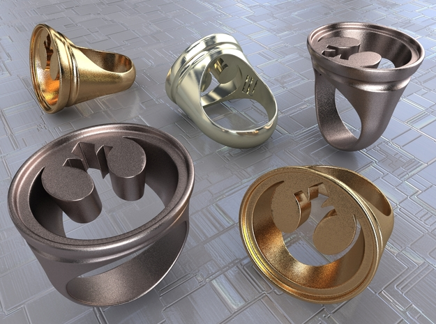 Rogue Ring 3d printed Stainless Steel, Gold Plated Matte & Premium Silver renders