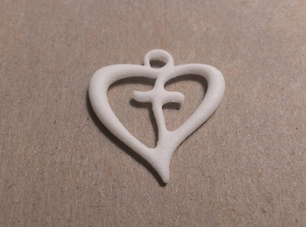 Cross My Heart Pendant 3d printed White Strong Flexible