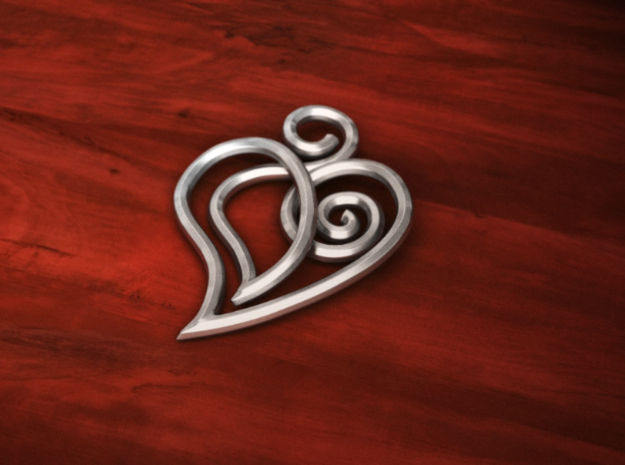 Heart Line 3d printed 3d Simulation of the trinket printed on a silver-like material