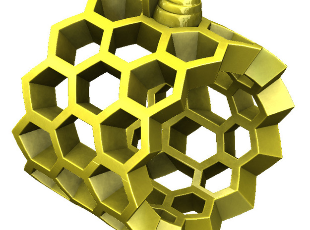 Little Bee in Honeycomb Ring 3d printed