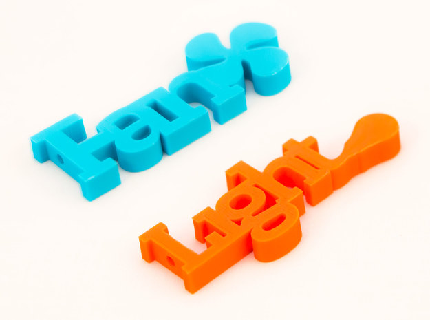 Typography Fan Pull Handles 3d printed