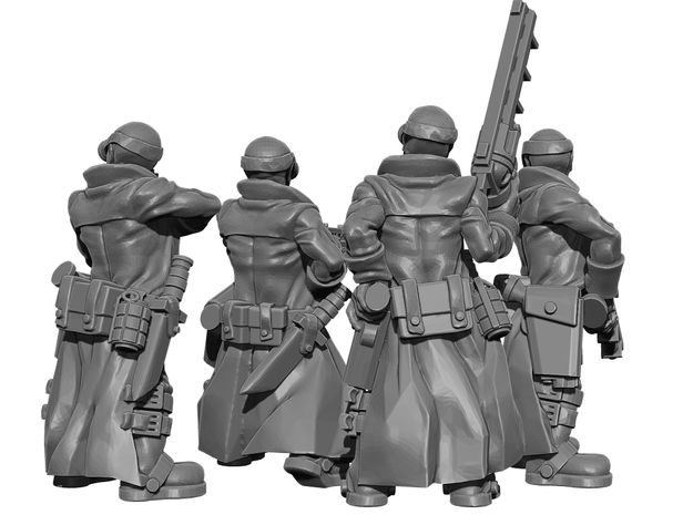 Female Stealth Gang with Revolver Rifles 3d printed This is a 3d render, not a photograph of the model printed in the material.