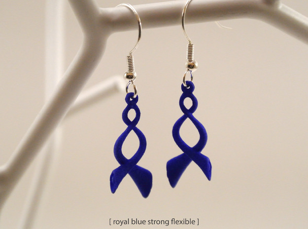 Twisted Horn earrings 3d printed