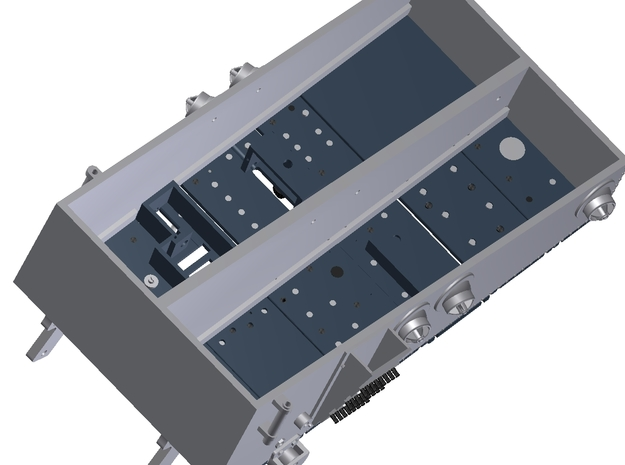 HUEY Centre Console Panel 1:6 Scale 3d printed View underneath showing Light boxs and fitting access
