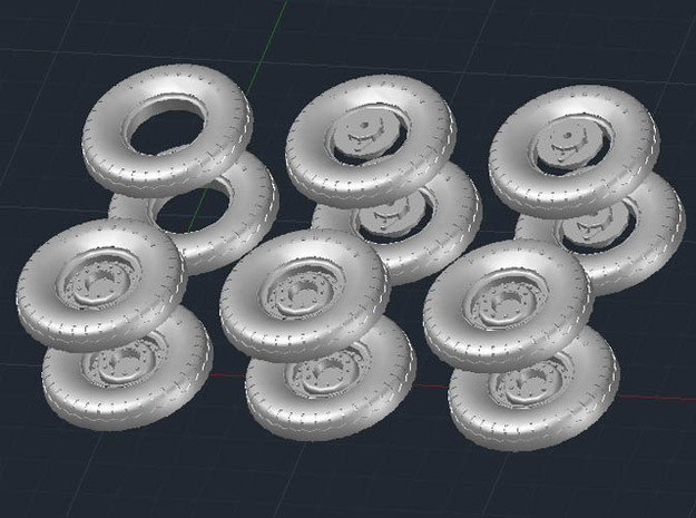 1:35 Scale 18 24 240mmgun Wheels 3d printed