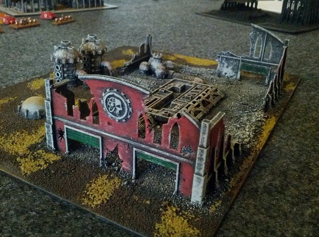 6mm Factory Ruins 3d printed Painted example in White, Strong, and Flexible (not all items picturedare part of model)