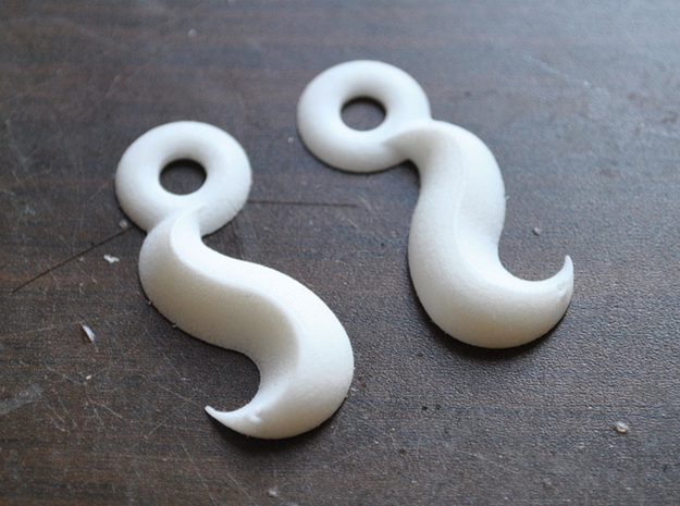 Princess' Earrings - part 1 3d printed White Strong & Flexible Polished