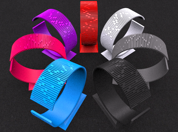Crescent Bracelet (M) 3d printed All strong & flexible plastic colors & Alumide
