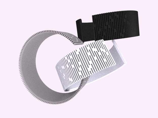 Crescent Bracelet (M) 3d printed Alumide and White & Black plastic