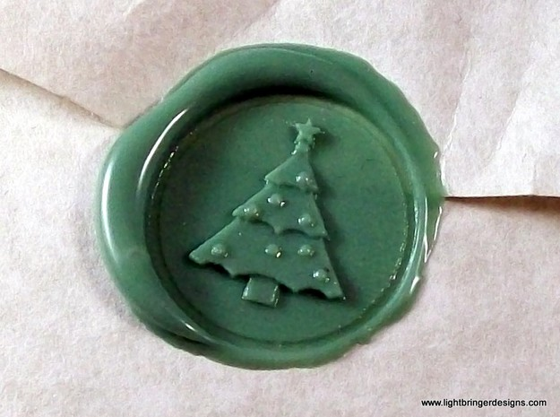 Christmas Tree Wax Seal 3d printed Christmas Tree impression in Light Green wax