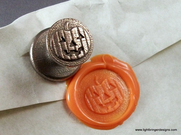 Jack-O'-Lantern Wax Seal 3d printed Jack-O-Lantern wax seal with impression in Mandarin Orange wax