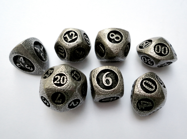Overstuffed Dice Set with Decader 3d printed In stainless steel and inked.