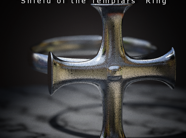 Shield of the Templars Ring 3d printed