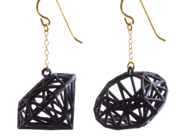 Rock Star Diamond Earrings 3d printed