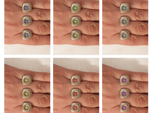 Button Up Ring Modern 3d printed add the thread color of your choice!