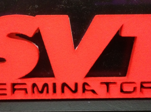 SVT Terminator Emblem 3d printed Actual emblem printed in Coral Red strong & flexible polished