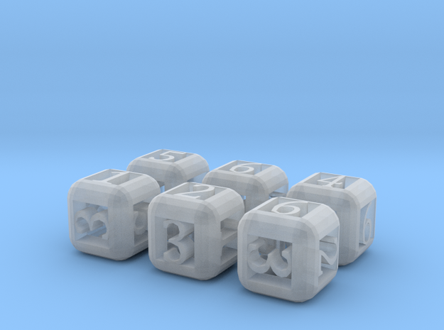 6 Pack Rounded Hollow Dice 3d printed