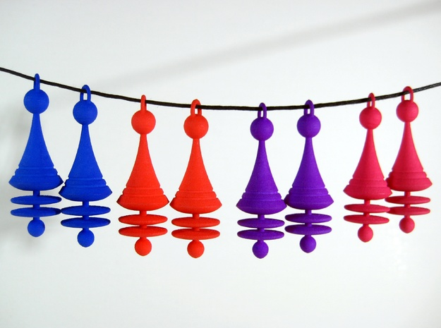 Orbit City Earrings 3d printed Available in all Shapeways' fun colors.
