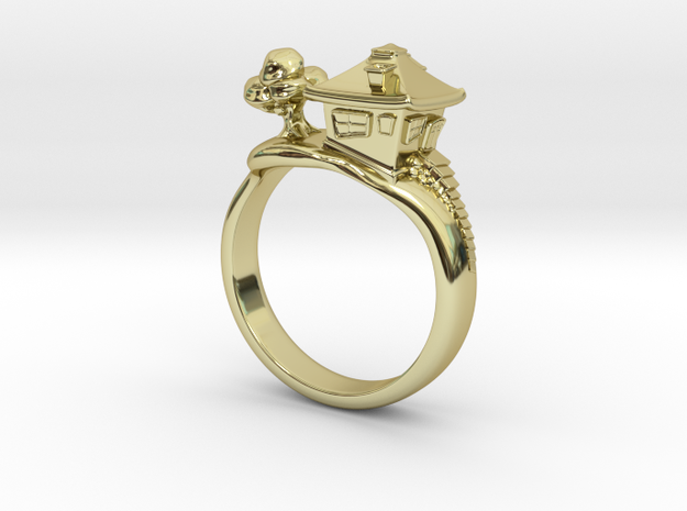 Little House On The Hill Ring 3d printed