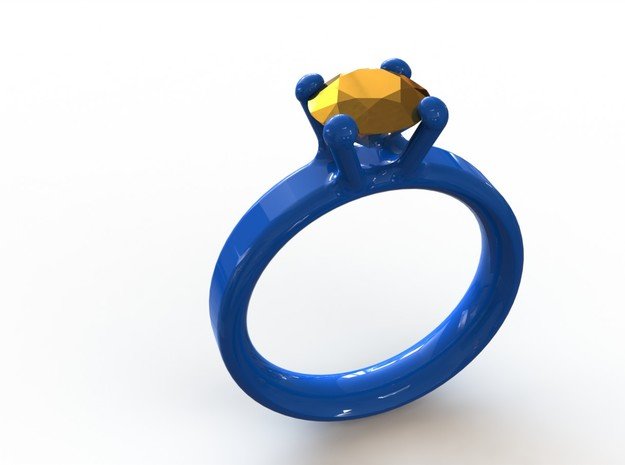 'Couture' Classic Four Claw Ring 3d printed Royal Blue ring 16mm inside diameter paired with a Gold Plated diamond sized to 1 carat