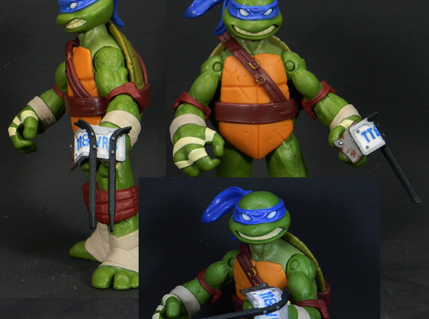 5mm MakeShift Weapons Set 3d printed Leonardo wielding a license to kill as painted by Cheetimus Prime