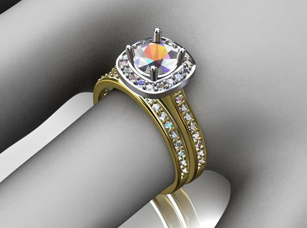 Diamond Halo Engagement Ring 3d printed Wedding Band is a separate listing.