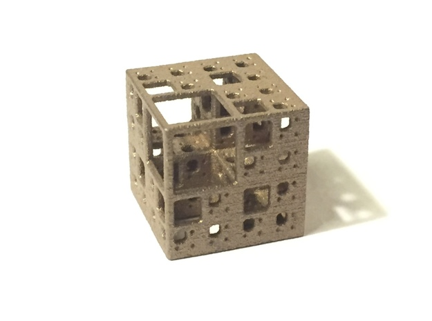 NewMenger - small fractal sculpture 3d printed Stainless Steel