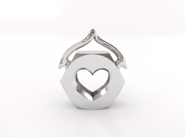 Heart Nut Pendant 3d printed Heart Nut Pendant - Front View